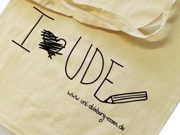 """Baumwolltasche """"I love UDE"""""""
